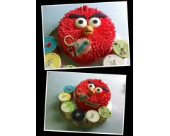Angry Bird With 6 Cupcakes